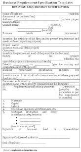 business requirement specification template sample business