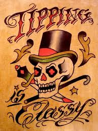 ebluejay tattoo tipping metal sign