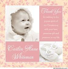 baptism thank you wording modern girl baptism thank you card two photo pink baby