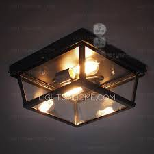 Glass Flush Mount Ceiling Light 2 Light Flush Mount Ceiling Fan Light With Rectangular Glass Shade