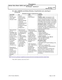 Ghs Safety Data Sheet Template Msds Sds Labelling Sop Ghs Of Classification Labelling Of Chem
