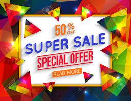Super Colorful Super Sale Special Offer Banner On Colorful Background Web