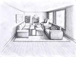 point perspective drawing interior design sketch bedroom