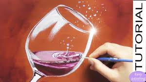 how to paint a glass of red wine with water drops painting