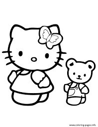 kitty teddy bear coloring pages printable