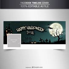 happy halloween facebook timeline cover template vector free