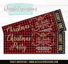plaid christmas printable buffalo plaid christmas party ticket invitation