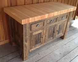 Unfinished Furniture Kitchen Island Rustic Butcher Block Island With 3 Door And 3 Drawer Also Wooden