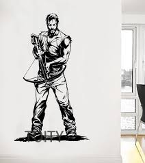 daryl dixon with crossbow wall sticker the walking dead poster daryl dixon with crossbow wall sticker the walking dead poster zombie tv vinyl decal dorm teen room art decor giant mural in wall stickers from home