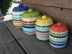 colorful kitchen canisters sets how to paint your ceramic canisters so doing this kitchen