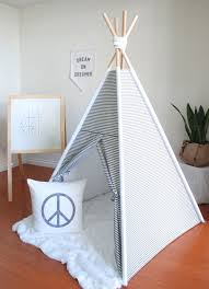 Kids Teepee by Grey And White Stripe Canvas Teepee Play Tent Kids Teepee