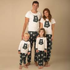 winter warm printing pyjamas matching family pjs
