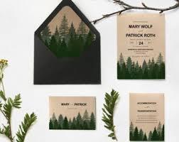 forest wedding invitations tree wedding invitation pine etsy