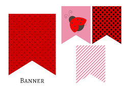 banner red pink ladybug banner bunting pennant garland