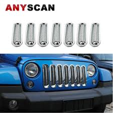 2017 silver jeep rubicon 7pcs silver front trim grille cover mesh grill insert kit for 2007