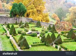 triangle shaped topiary green trees stock photo 386519428