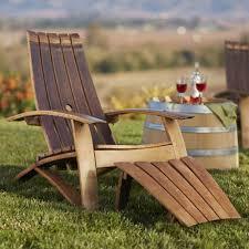 Outdoor Adirondack Chairs Wine Barrel Adirondack Chair And Footstool Vivaterra