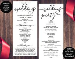 Wedding Bulletin Editable One Page Program Template Calendar