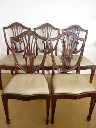 shield back dining room chairs a set of five older reproduction hepplewhite mahogany shield back