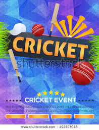 free event poster templates polygonal background cricket event poster template stock vector
