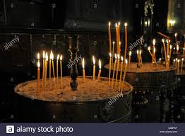sofia the candle lighted candles interior view church of st nedelya sofia stock