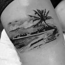 driving car vacation palm tree tattoo on arms for men ink me up
