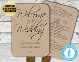 Rustic Wedding Program Fans Rustic Wedding Fan Etsy