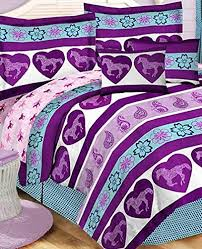 Girls Horse Themed Bedding by Purple U0026 Blue Girls Pony Horse Full Comforter Set 8 Piece Bed In