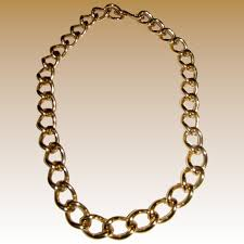 gold tone chain necklace images Bold vintage monet gold tone chain link choker necklace fay wray jpg