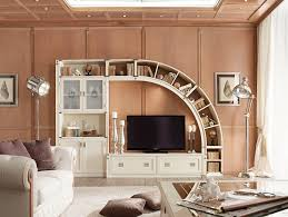 house decoration furniture cute led tv with brown wooden wall shelf to save the