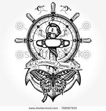 lighthouse compass tattoo tshirt design symbol stock vector