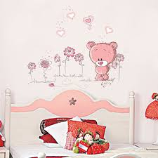 online get cheap wall stickers flower aliexpress com alibaba group diy cartoon teddy bear flower wall stickers for kids living room bedroom bathroom decoracion children wallpapers