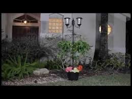 Backyard Light Post by Martens Solar Lamp Post And Planter Youtube