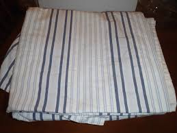 ikea alvine streck curtain panel blue white ticking stripe cotton