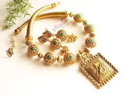 antique necklace set images Ethnic green antique gold statement handmade necklace set online jpg