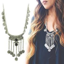 long silver statement necklace images Tassel exaggerated long silver coin necklace women turkish indian jpg