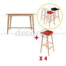oak wood bar stools decor8 combo set plato solid oak wood bar table and riga solid
