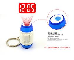 light projection alarm clock mini led key ring key clip laser digital time clocks light