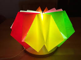 Paper Table Lamp Table Lamp With Coloured And Folded Paper Shades 4 Steps With