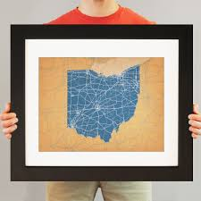Ohio City Map Ohio Map Art City Prints