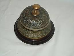 Antique Reception Desk Large Ornate Service Bell Antique Brass On Wooden Base Reception