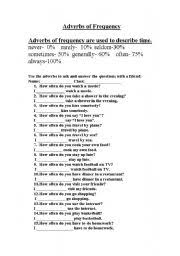 adverbs of frequency worksheet by christian brookes