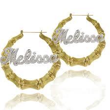 name hoop earrings mixed metal large bamboo name hoop earrings initial obsession