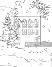 Winter Houses Winter Houses In The Snow Coloring Book Page Vector Art Getty Images