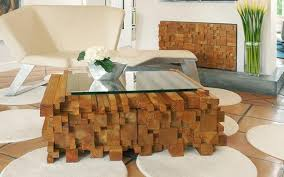 Unusual Glass Top Coffee Table Design In Eco Style - Wood coffee table design