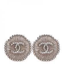 button earrings chanel enamel cc button earrings silver 235289