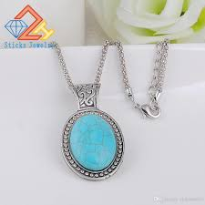 turquoise stone wholesale fashion natural stone turquoise oval shape pendant