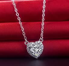 silver gold diamond necklace images Awesome 2ct heart shape synthetic diamonds pendant 925 sterling jpg