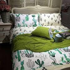 ttmall twin full queen size 100 cotton black white green cactus