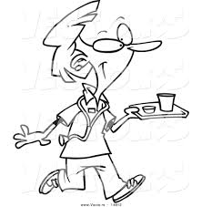 vector of a cartoon nurse carrying a tray of cafeteria food
